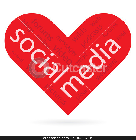heart symbol as social media concept  stock vector clipart, Abstract heart symbol as social media concept, vector illustration. by antkevyv