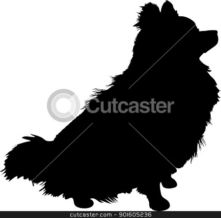 Pomeranian Silhouette stock vector clipart, A silhouette of a sitting Pomeranian dog in profile. by Maria Bell