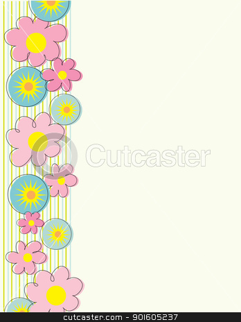 Flowers Side Border stock vector clipart, A stylized floral border running down the left margin, with star bursts interspersed between . by Maria Bell