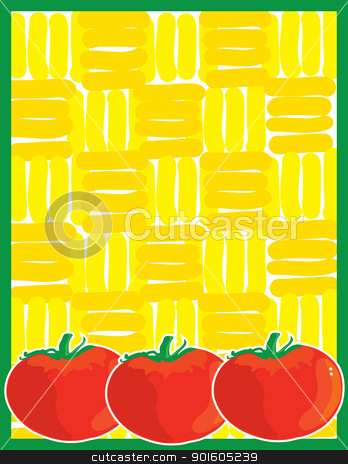 Tomato Background stock vector clipart, A background graphic with a green border, a yellow background and three tomatoes along the bottom margin. by Maria Bell