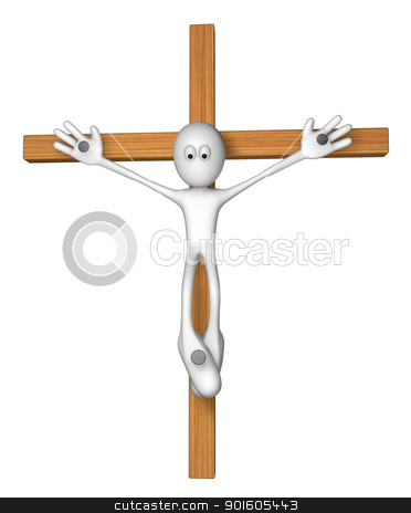 crucifixion stock photo, white guy nailed on wooden cross - 3d illustration by J?