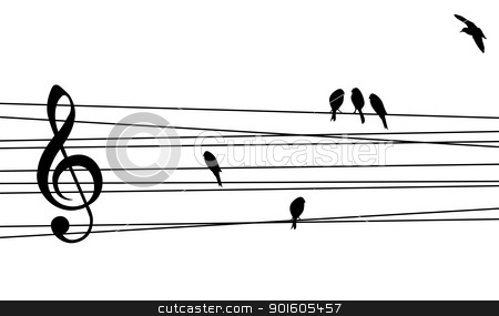 Love for Music composition stock vector clipart, Love for music concept illustration. High contrast musical pentagram and birds background. Vector file available. by Cienpies Design