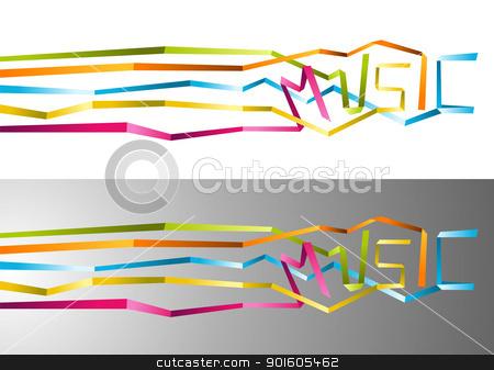 Music origami ribbon background