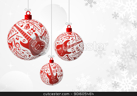 Music Christmas card stock vector clipart, Love Christmas music concept illustration. Music instruments set in red bauble shape background. Vector file available. by Cienpies Design