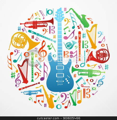 Love for music concept illustration background stock vector clipart, Multicolored music instruments silhouette in circle shape. Vector file available. by Cienpies Design