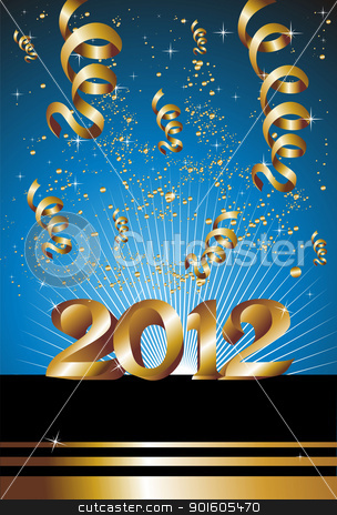 Happy New Year 2012 in blue background stock vector clipart, Celebration of New Year 2012 with gold ribbons on a blue background. Vector file available. by Cienpies Design