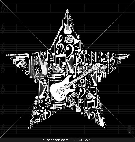 Music star background stock vector clipart, Love for music concept illustration. High contrast musical instruments icon set in star shape background. Vector file available. by Cienpies Design