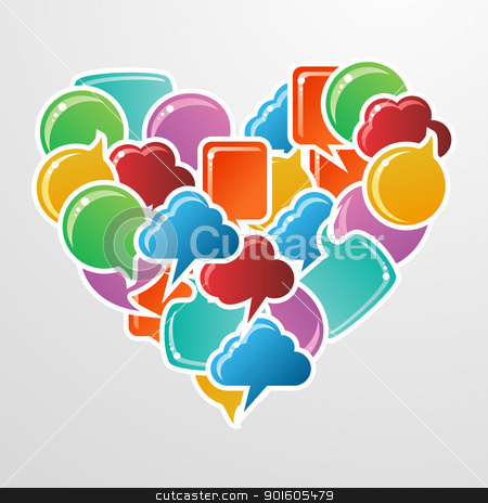 Social media bubbles love heart stock vector clipart, Social speech bubbles in different colors and forms in heart shape illustration. Vector file available. by Cienpies Design
