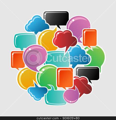 Social media bubbles circle stock vector clipart, Social speech bubbles in different colors and forms in circle shape illustration. Vector file available. by Cienpies Design