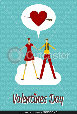 In Love couple Valentines day stock vector clipart, Happy couple in Love Valentines day greeting card background. Vector file available. by Cienpies Design