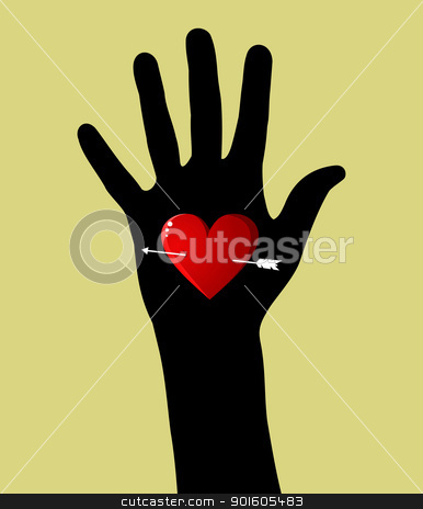 Fall in love Valentines day heart in hand stock vector clipart, Hand silhouette with heart and arrow Valentines day background. Vector file available. by Cienpies Design