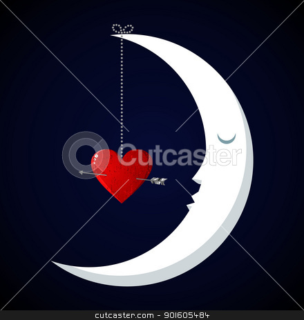 Moon Fall in love Valentines day background stock vector clipart, Happy Moon Fall in love Valentines day concept background. Vector file available. by Cienpies Design