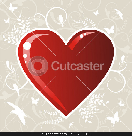Valentines love heart background stock vector clipart, Romantic red love heart over floral background. Vector file available. by Cienpies Design