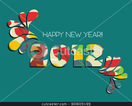 Happy New Year 2012 in green background stock vector clipart, Celebration of New Year 2012 with color splashs in green background. Vector file available. by Cienpies Design