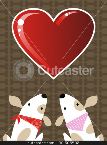 Valentines dog love background stock vector clipart, Romantic Valentines red love heart and dog couple background. Vector file available. by Cienpies Design