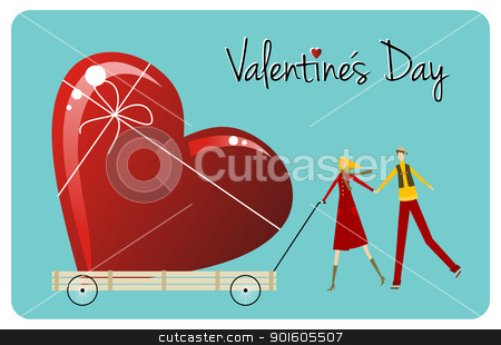 Biggest Love. Happy Valentines day greeting card stock vector clipart, Happy Valentines day greeting card background: young couple carry a heart likes shape gift. Vector file available. by Cienpies Design
