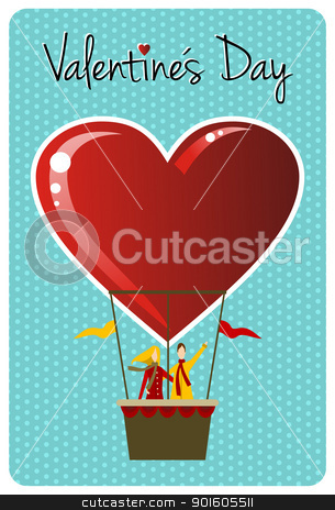 Couple in hot air balloon Valentines day greeting card stock vector clipart, Valentines day greeting card design: Couple in hot air balloon shaped like a heart. Vector file available. by Cienpies Design