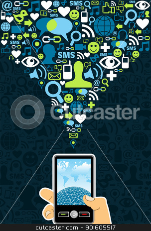 Social media cell phone connection  stock vector clipart, Hand holding a cell phone under social media icons on blue background Vector file available. by Cienpies Design