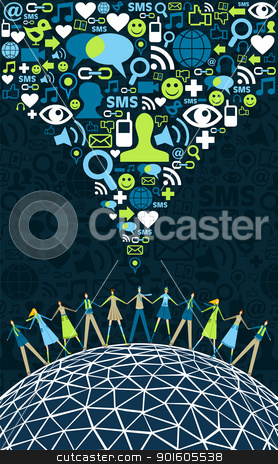 Social media people around the world stock vector clipart, Social media network connection concept, with social icons texture background. Vector file available by Cienpies Design