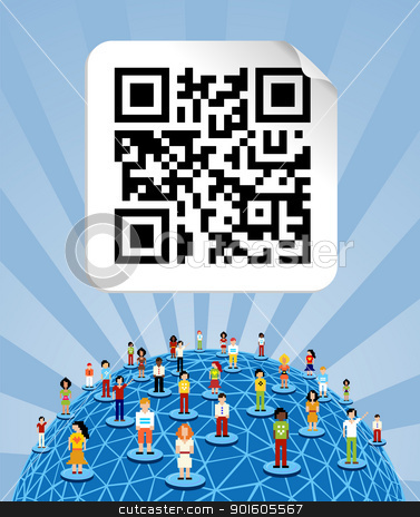 Global social media network around the world with qr code stock vector