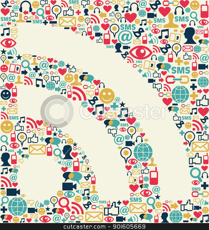 Social media RSS icon texture stock vector clipart, Social media icons texture with RSS shape composition background.  by Cienpies Design
