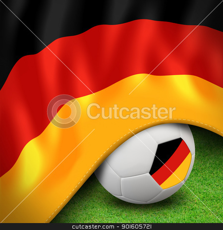 Soccer ball and flag euro germany stock photo, Soccer ball and flag euro germany for euro 2012 group b by Sailom
