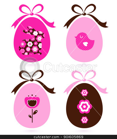 Retro easter eggs set isolated on white ( pink & brown ) stock vector clipart, Cute floral easter egg elements. Vector cartoon by Jana Guothova
