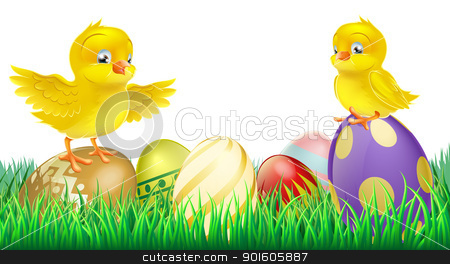 Cute yellow chicks on Easter eggs stock vector clipart, Two cute happy little yellow Easter chicks on top of colorful decorated Easter eggs  by Christos Georghiou