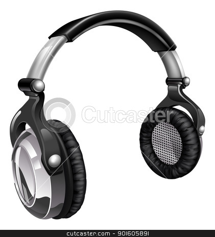 Big cool music headphones stock vector clipart, Illustration of a pair of audio music headphones  by Christos Georghiou