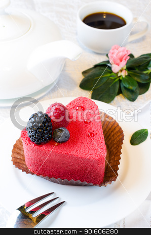 Cake coffe flower stock photo, Red heart shaped cake with cofee and pink azalia flower by Nanisimova