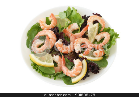 salad with shrimps stock photo, salad with shrimps by nataliamylova