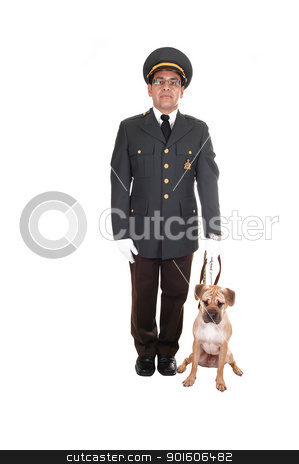 Guard with dog. stock photo, A security guard with his sharpei puppy dog standing in the studio in a dark olive green jacket and brown pants holding his dog on a short leash, for white background.  by Horst Petzold