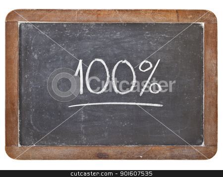 one hundrwed percent stock photo, one hundred percent - white chalk handwriting on isolated vintage slate blackboard by Marek Uliasz