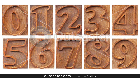 outlined numbers in letterpress type stock photo, a set of isolated 10 numbers from zero to nine - vintage letterpress wood type, outlined font by Marek Uliasz