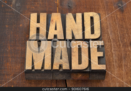 handmade in letterpress type stock photo, handmade word in vintage letterpress type on grunge wooden background with nails by Marek Uliasz