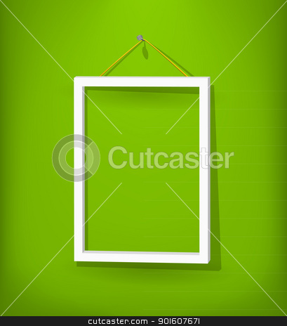 White frame on the wall stock photo, White empty frame with glass hang on the green wall. Eps10. Used opacity layers for effects shadow and glass reflection by Imaster
