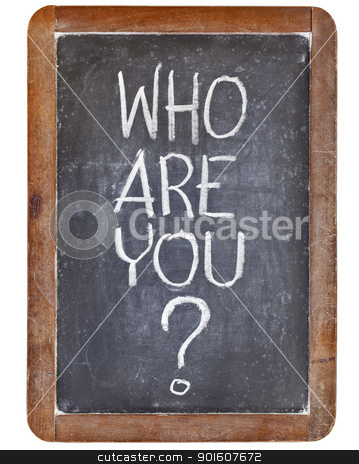 who are you question stock photo, who are you question - white chalk handwriting on vintage slate blackboard, isolated on white by Marek Uliasz