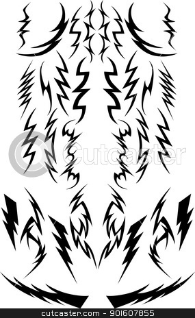 Vector Lightning Bolts Image Collection stock vector clipart, Vector Images of a Variety of Lightning Bolts by chromaco