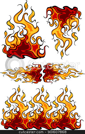Group of  Flames Vector Design Templates stock vector clipart, Fire Flames Flaming Vector Illustrations  by chromaco