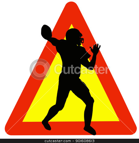 Football Player Silhouette on Traffic Warning Sign stock photo, Warning Football Played Here on Traffic Sign by Snap2Art