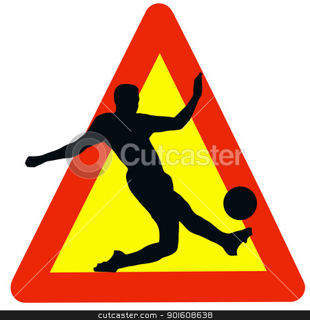 Soccer Player Silhouette on Traffic Warning Sign stock photo, Warning Soccer Played Here on Traffic Sign by Snap2Art