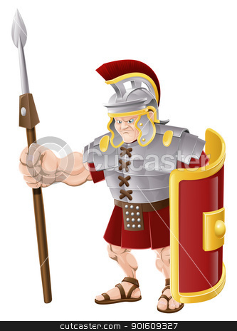 Strong Roman Soldier Illustration stock vector clipart, Illustration of strong looking Roman soldier with spear and shield by Christos Georghiou