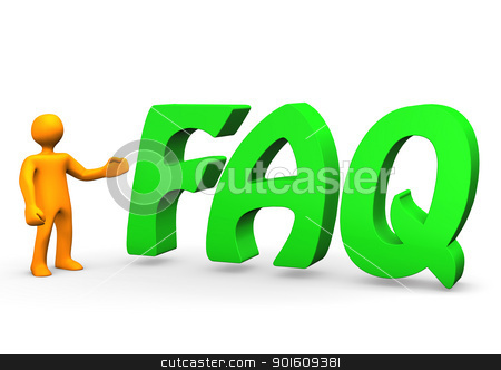 FAQ Green stock photo, Orange cartoon character with big green text