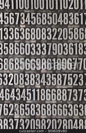 random numbers background stock photo, random numbers background - vintage grunge letterpress metal type by Marek Uliasz