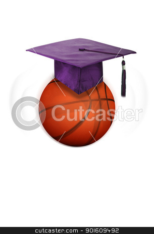 Basketball and Education. stock photo, Basketball head ready for school. by WScott