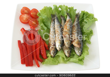 fried sardines stock photo, fried sardines by nataliamylova