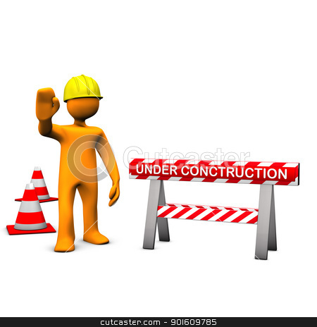 Construction Site stock photo, Orange cartoon characters with helmet on the construction site. by Alexander Limbach