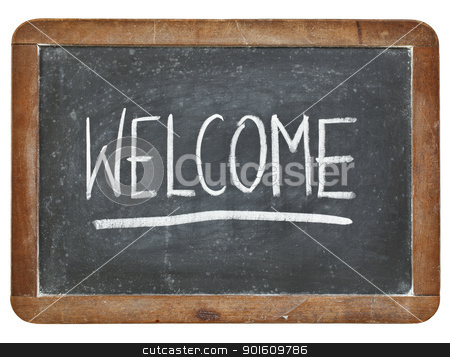 welcome on blackboard stock photo, welcome - white chalk handwriting on isolated vintage slate blackboard by Marek Uliasz