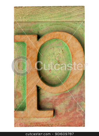 letter p in letterpress wood type stock photo, isolated letter p in vintage letterpress wood type stained by color ink by Marek Uliasz