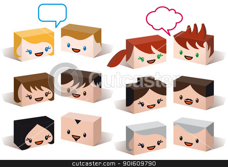 avatar heads, vector people icon set stock vector clipart, 3D head avatars, vector people icon set by Beata Kraus